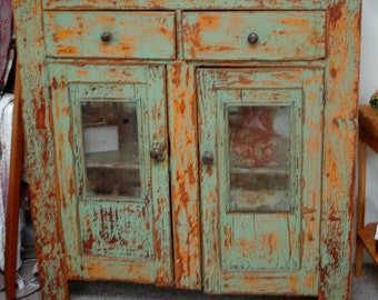 Gorgeous Distressed Antique Jelly Cupboard with Original Finish  - Circa 1806