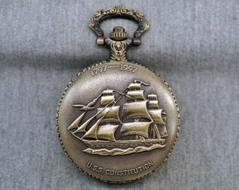 Sailing Boat Pocket Watch Antique Bronze Navy Vessel Watch Fob Sailor Pocket Watch Pendant 46mm, for gifts