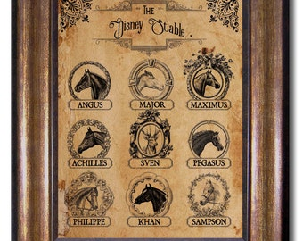 Disney Stable - Disney Vintage Style Print - Disney Horses (and Sven) - Multiple Sizes 8x10, 11x14, 16x20, 18x24, 20x24, 24x36