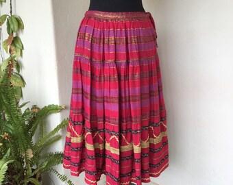80s Indian gauze metallic gold red pink embellished vintage skirt ethnic bohemian boho full
