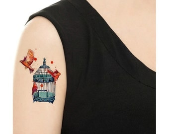 TEMPORARY TATTOO - Birds and Birdcage