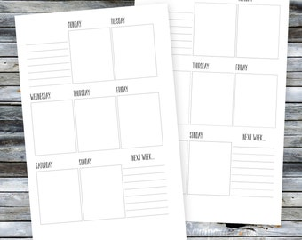 Half Page (A5) WO1P Printable Planner Inserts includes multiple variations