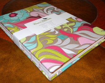 Medium Funky Colorful Floral Print Fabric Covered Coptic Stitch Bound Journal 6x8 inch