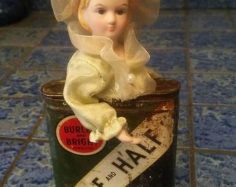 Ooak Half and Half Tobacco Tin with Vintage Doll