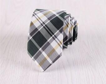 mens green necktie.groomsmen ties for men.olive green tie.gingham necktie.skinny ties for men.plaid ties.anniversary gift for him+nt.s437