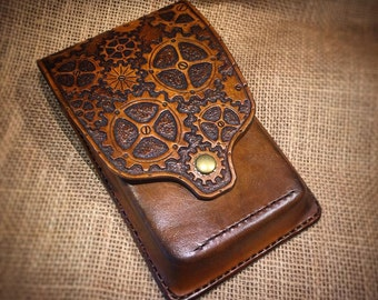 Handmade Leather Steampunk (steam punk) Phone Holster Wallet for Apple iPhone and Samsung Galaxy