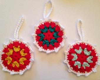 3 Granny Circle Christmas Tree Decorations/ Christmas decoration/ crochet decoration/Chistmas tree decor