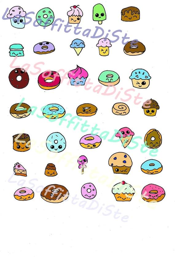 Donuts kawaii planner stickers printable cupcakes donough for Immagini disegni kawaii