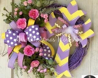 Cross wreath spring wreath grapevine wreath Easter wreath Mother's Day wreath religious wreath everyday