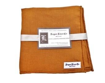 Irish Linen Pocket Square/Handkerchief: Hand Rolled Mustard Yellow