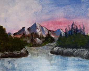 Bob Ross Inspired  Original Watercolor Painting - Mountain Landscape