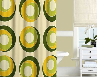 Modern Shower Curtain Yellow Olive Green Colorful Bath Bathroom