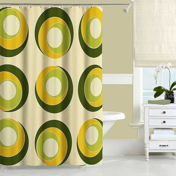 Modern Shower Curtain Yellow Olive Green Shower Curtain
