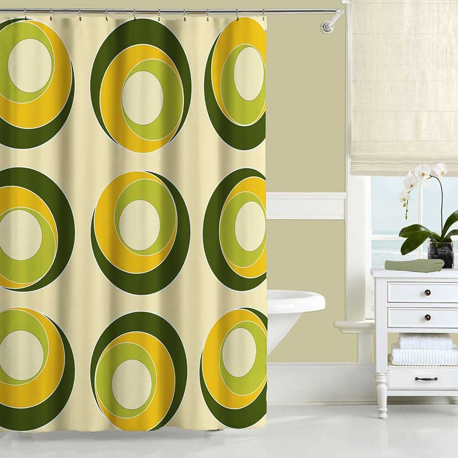 Modern shower curtain yellow olive green shower curtain for Yellow and green bathroom ideas