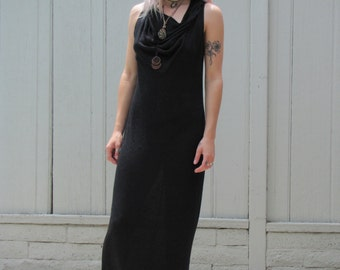 Vintage 90s Maxi Long Black Witchy Hooded Tank Top Dress