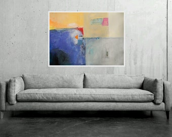 Large Abstract Painting, Blue White Yellow Orange Grey,Original Modern Artwork Wall Decorations Office & Home Modernism 100 x 70 cm 40x28 in