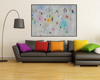 Huge Abstract Painting Modern Art Large Wall Contemporary Canvas Art White pink blue yellow Acrylic Mix Media Collage Charcoal Modern Design