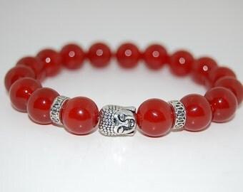Buddha, Agate Gemstone, 10mm Beads Elastic Bracelet ,Gemstone Stretch Bracelet,Men,Women,Beaded,Yoga,Pray,Protection,Meditation