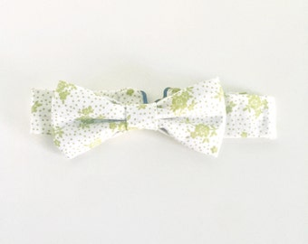 Green Floral & Polka Dot Adjustable Bow Tie - Toddler/Child