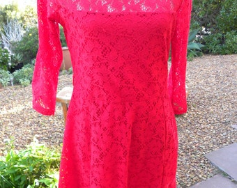 Beautiful red stretch lacy vintage dress, rockabilly style, size uk 14 usa 12