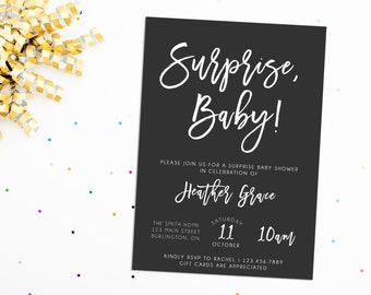Surprise Baby Shower Invitation, Printable Surprise Shower Invite, Printable Baby Shower Invite, Custom Baby Shower Invite, Baby Shower