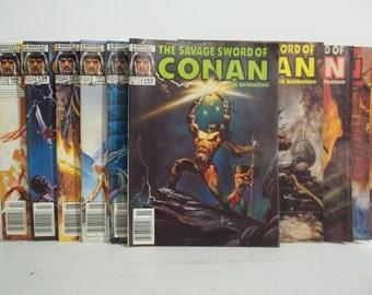 Lot of 10 Savage Sword of Conan Magazine Size Comic Books
