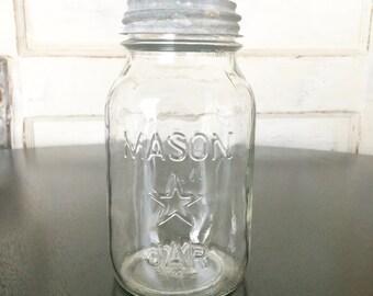 Vintage Mason Star Jar with Zinc Lid