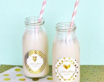 Glass Milk Bottles for Pink and Gold Baby Showers - Best Baby Shower Decor Ideas - Elegant Baby Shower Favor set of 24  (EB2302FB)