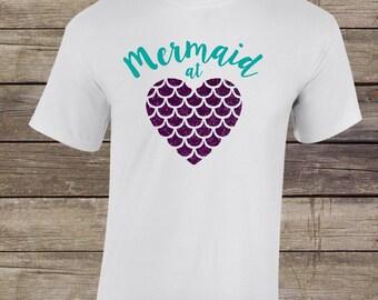 Mermaid Shirt- Mermaid At Heart T Shirt- Womens Mermaid T Shirt- Mermaid Glitter Shirt- Mermaid At Heart Shirt