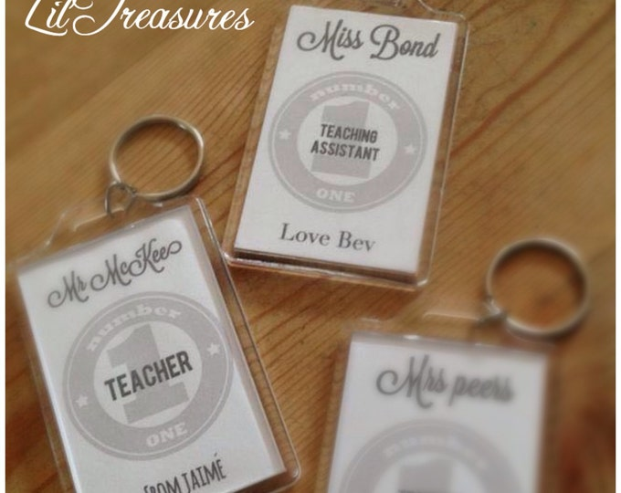 Double sided keyrings image or text gift for Father's Day or teachers, Dad, Mum, Photo, Quote. Thank you gift for teachers