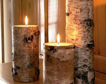 White birch candle holders,candle holders,log candle holders,rustic candle holders,pallet wood candle holders,set of 3