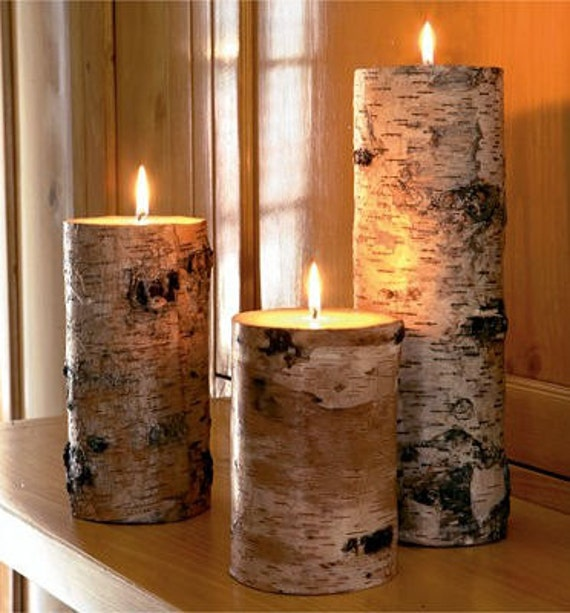 White birch candle holders,candle holders,log candle holders,tea light candle holders,rustic candle holders,set of three