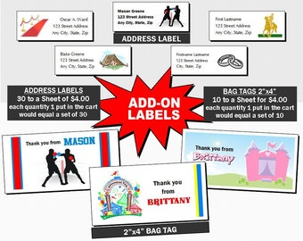 Labels Add-On, Matching Address Labels or Bag Tags Labels