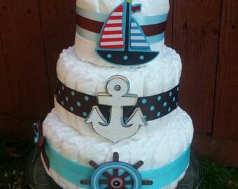 Nautical Diaper Cake, Anchor Away, Baby Boy Diaper Cake, Baby Shower Centerpiece, Nautical Themed Baby Shower, Little Sailor, Diaper Cakep