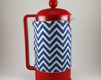French Press Cozy Cover 8 cup, Blue Chevron, Insulated Coffee Cozy, Handmade Cafetiere Cosy, Free Shipping to US,  MB0052