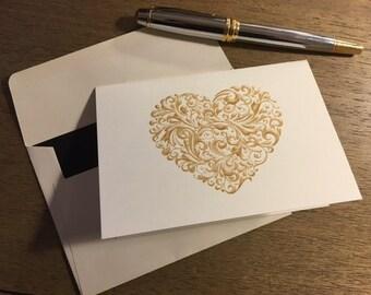Heart Folded Cards 3.5 x 5