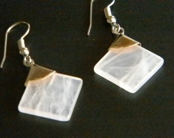 Silver Tone Pale Pink Square Stone Dangle Pierced Earrings