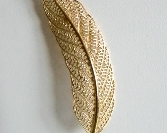 MONET Large Textured Gold Tone Feather Pin Brooch