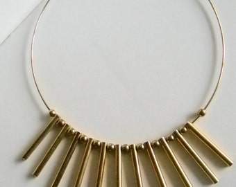 Gold Brassy Tone Finish Tube Ball Accents Round Choker Necklace