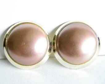 Gold Tone Trim Large Champagne Color Button Style Clip Earrings