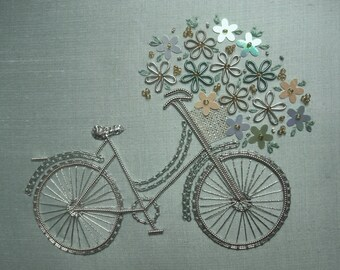 Silver Bicycle Embroidery Kit