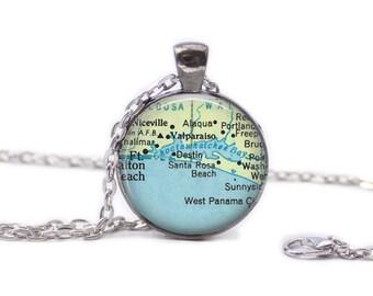 Destin Florida  Map Pendant Map Necklace Florida Jewelry Travel Necklace Destin Jewelry Destin Florida Keychain Spring Break