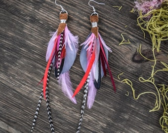 Earrings to parrots of pheasant feathers and cock grizzly cruelty free parrot feather earrings