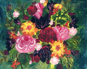Bouquet on Blue, Flower Painting Print, Giclee Print, 14x14 Print, Colorful Flowers