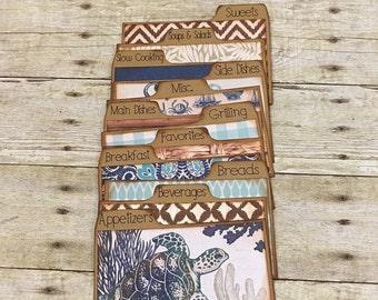 Recipe Card Dividers 3x5, 4x6, Blue & Brown, Beach