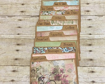 Recipe Card Dividers 3x5, 4x6, Pink, Green, Rustic, Vintage