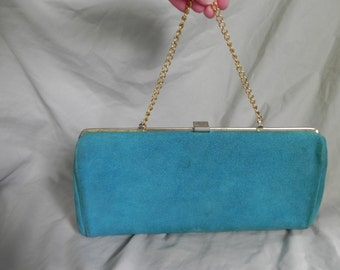 1970's or 1980's Turquoise Blue Suede Clutch Purse Handbag