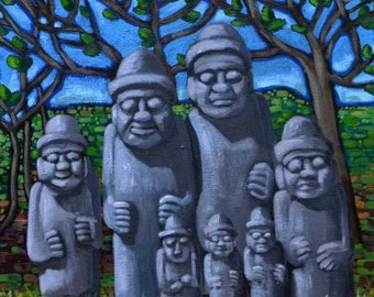 Original acrylic painting: Fellas of Jeju Island