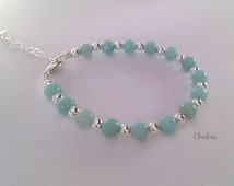 Amazonite bracelet with Sterling silver, turquoise bracelet, gift for her, girlfriend gift, Mothers Day gift