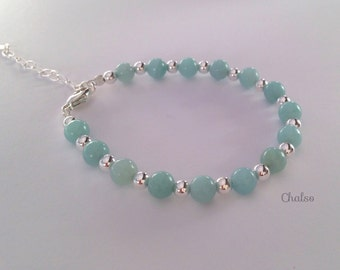 Amazonite bracelet with Sterling silver, turquoise bracelet, gift for her, girlfriend, sister, aunt, daughter, mum, balance, courage, summer